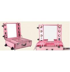 Преносимо работно място - куфар - розов цвят